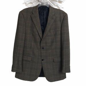 Austin Reed tan plaid wool sport coat blazer  44L